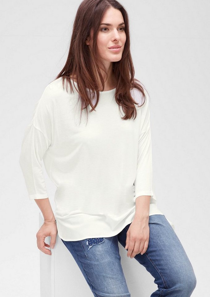TRIANGLE 3/4-Arm-Shirt mit Blusen-Details in light cream