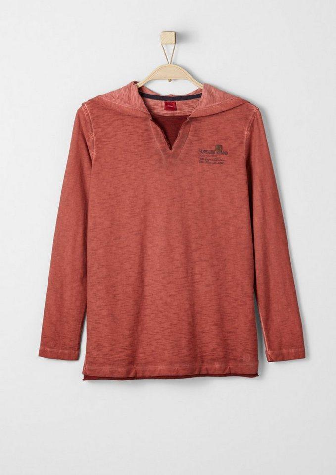 s.Oliver RED LABEL Junior Kapuzenshirt in Garment Dye für Jungen in dark red