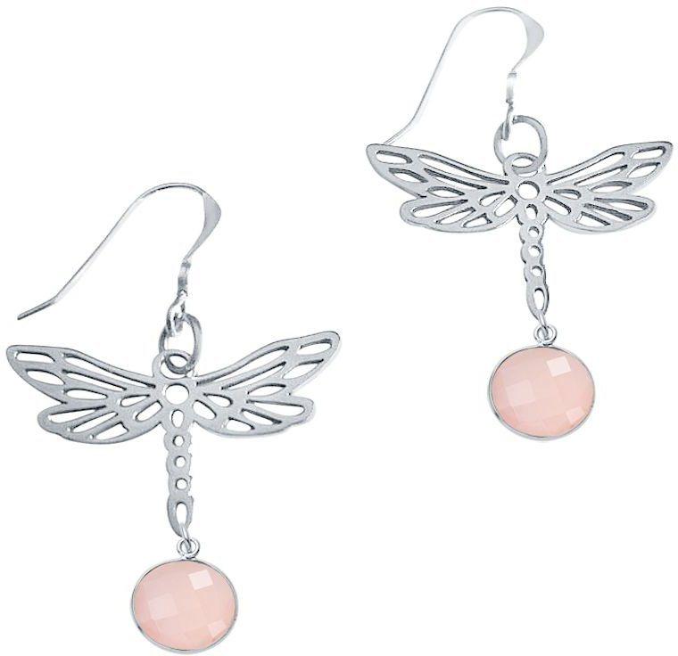 Gemshine Paar Ohrhaken mit Rosenquarz, »Libelle PlicrP« in Silber 925-rosa