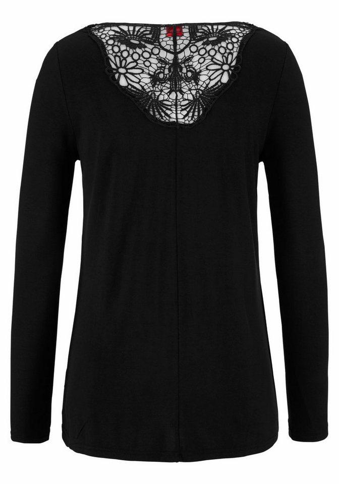s.Oliver RED LABEL Beachwear Strandshirt mit Spitzeneinsatz in schwarz