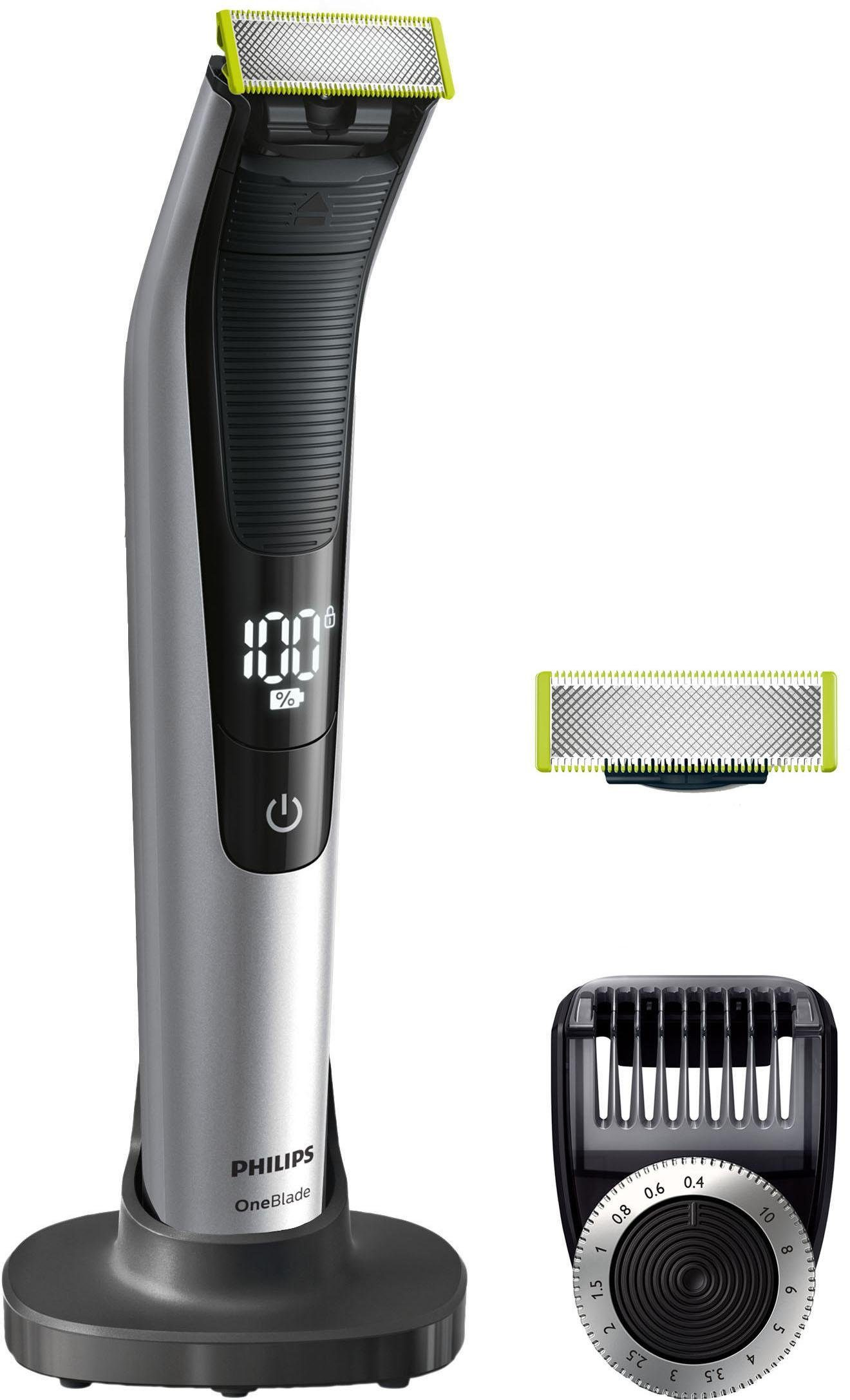 Philips Herrenrasierer OneBlade Pro QP6520/60, Akku, Wet&Dry, LED-Display, Präzisions-Trimmer, Ersatzklinge