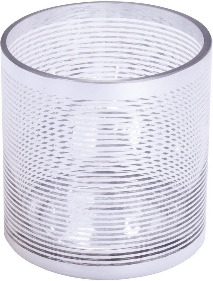 Wittkemper Windlicht »Stripes« in Zylinderform in silber