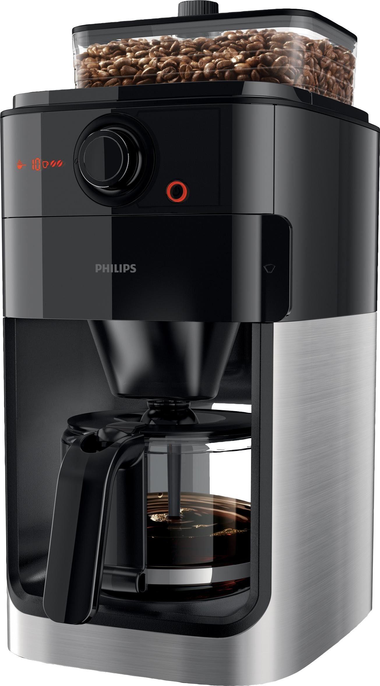 Philips Kaffeemaschine mit Mahlwerk HD7765/00 Grind & Brew, 1,2l Kaffeekanne, Papierfilter 1x4, Mahlwerk wahlweise abschaltbar