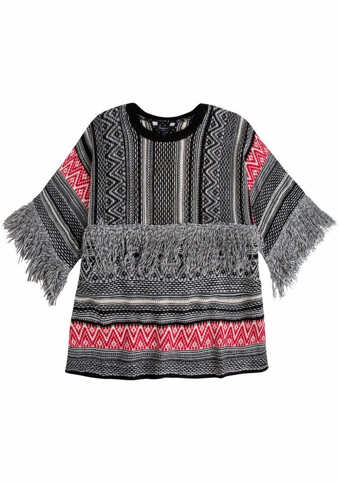 Pepe Jeans Strickpullover »Pinas« im Jaquardmuster in wollweiß-schwarz-rot
