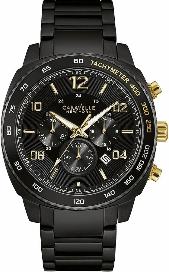 Caravelle New York Chronograph »Gold&Black, 45B146« in schwarz