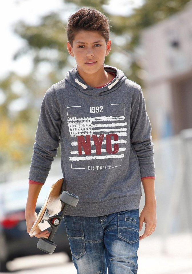 "Arizona Kapuzensweatshirt ""NYC"" in anthrazit-meliert"
