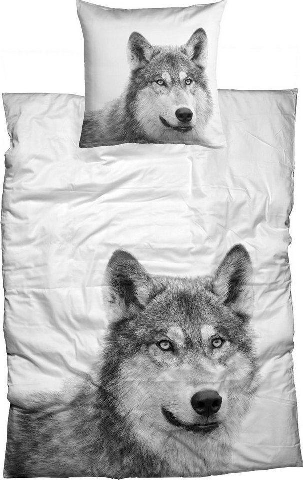 Bettwäsche, Casatex, »Husky«, mit Tier-Portrait in weiß