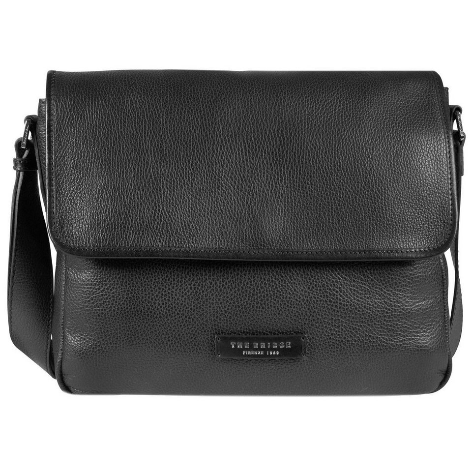 The Bridge Plume Mix Uomo Messenger Tasche Leder 37 cm in nero