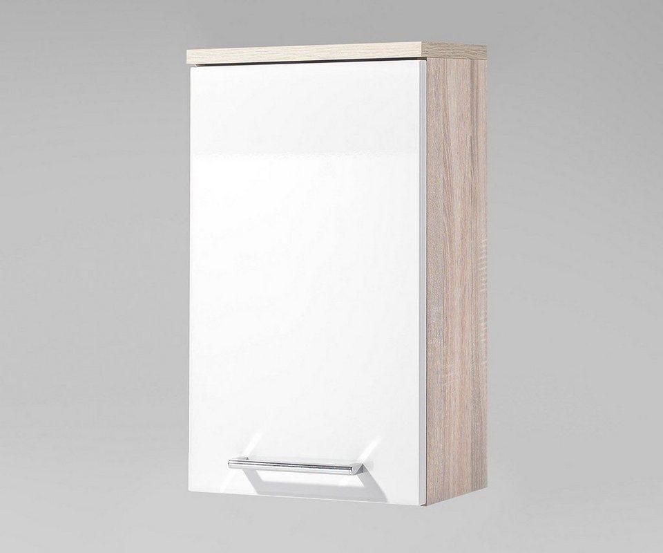 DELIFE Badschrank Mendoza Weiss Hochglanz 39x23 cm Eiche Dekor in Weiß