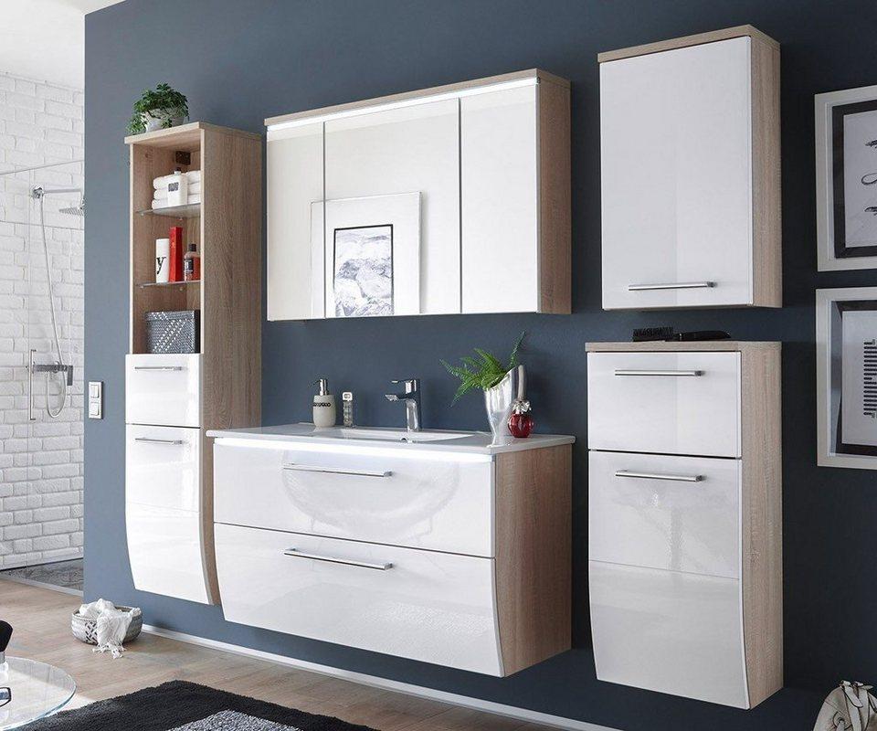DELIFE Badezimmer Mendoza Weiss Hochglanz 180 cm Eiche Dekor in Weiß