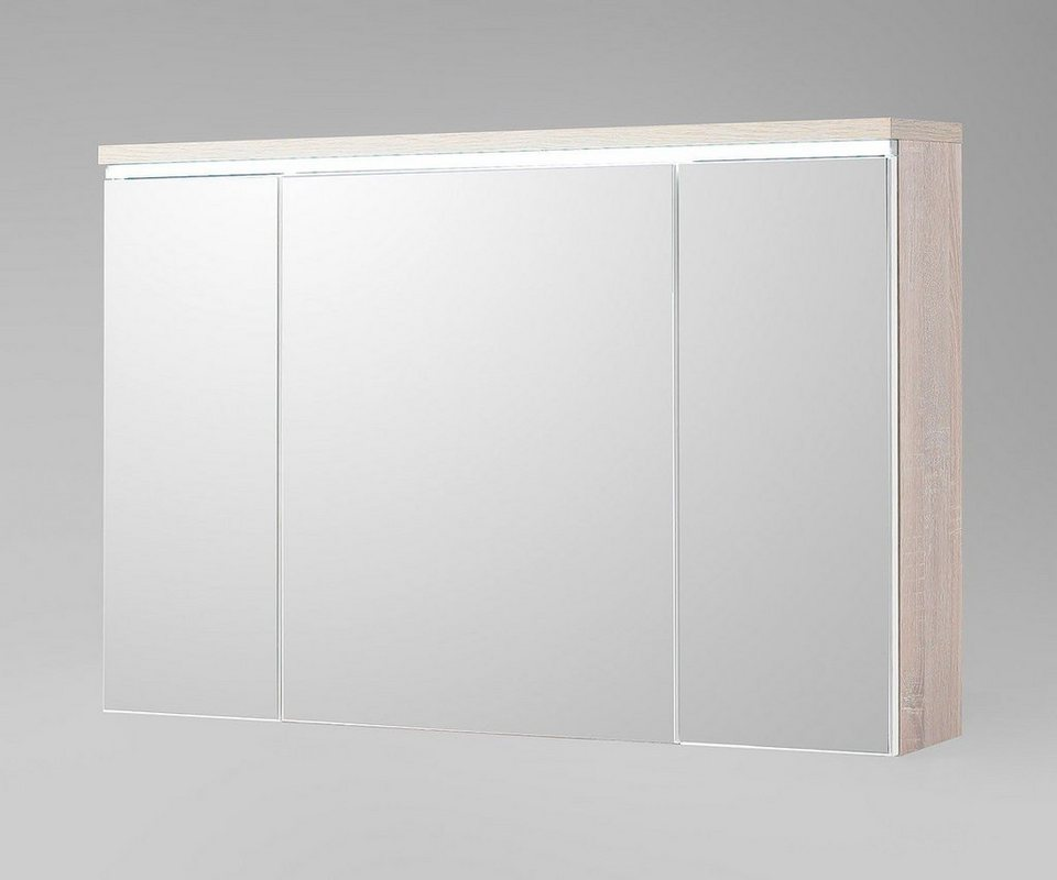 DELIFE Badspiegel Mendoza Eiche-Optik 100 cm inklusive LED in Braun