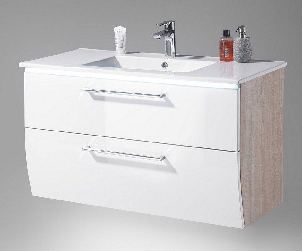 DELIFE Badschrank Mendoza Weiss Hochglanz 102 cm inklusive Becken in Weiß
