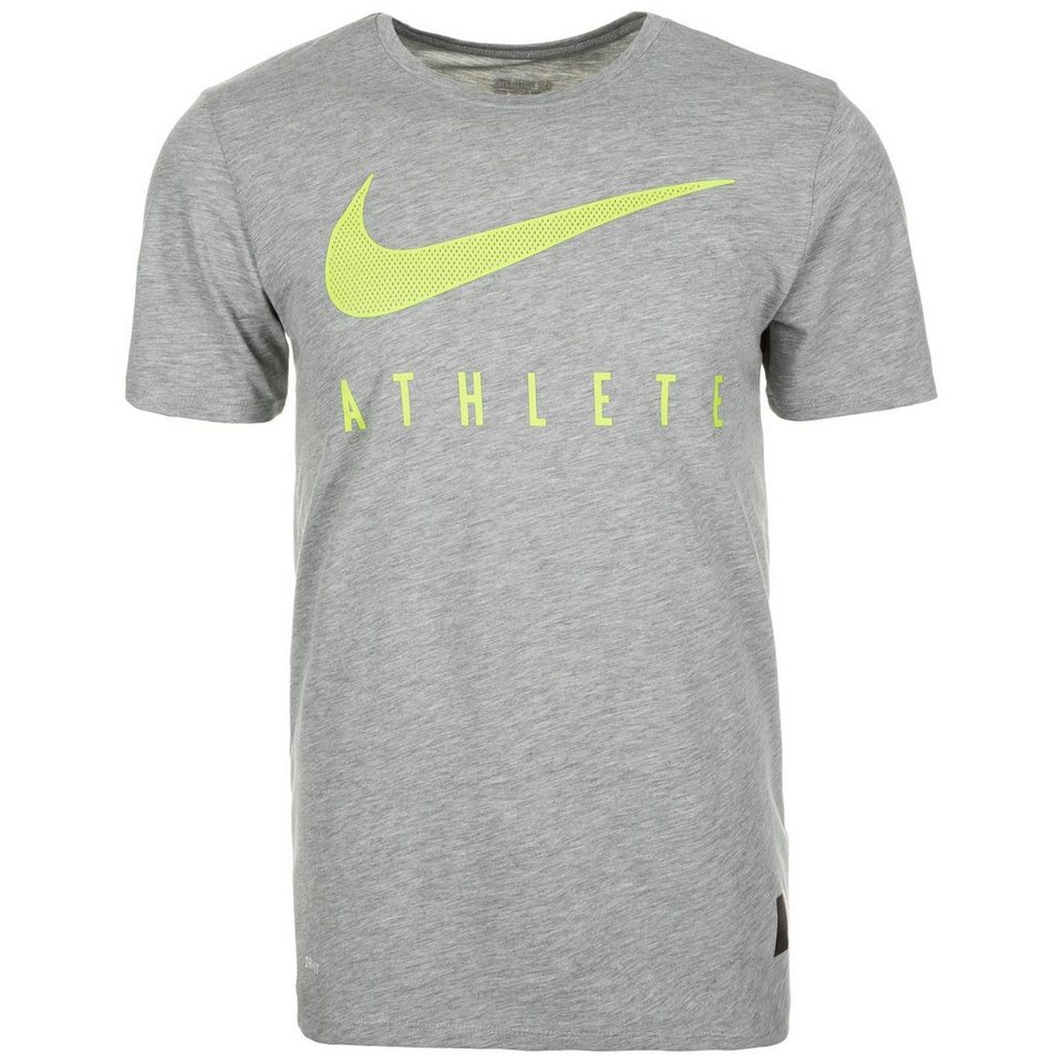 NIKE Dri-Blend Mesh Swoosh Athlete Trainingsshirt Herren in grau / neongelb
