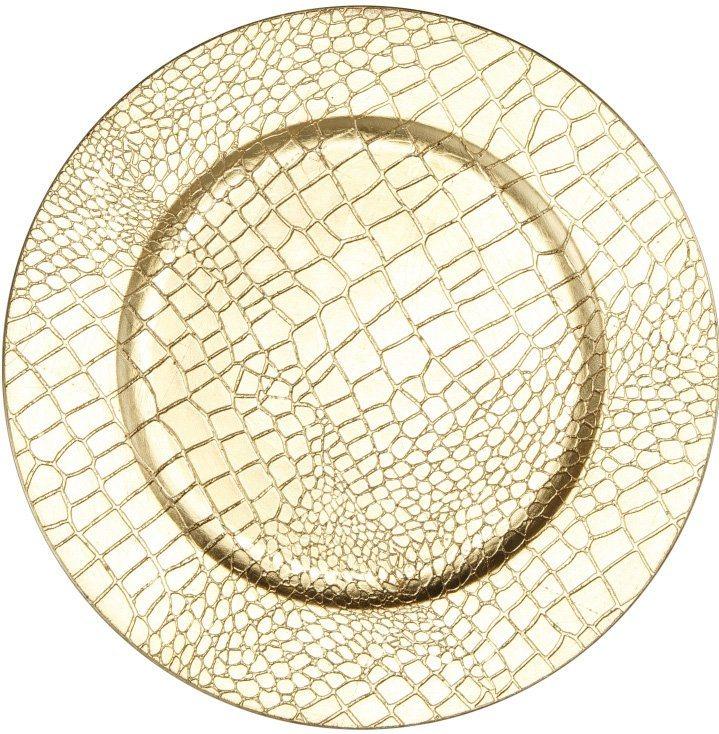 Deko-Teller in Kroko-Optik (4-teilig) in goldfarben