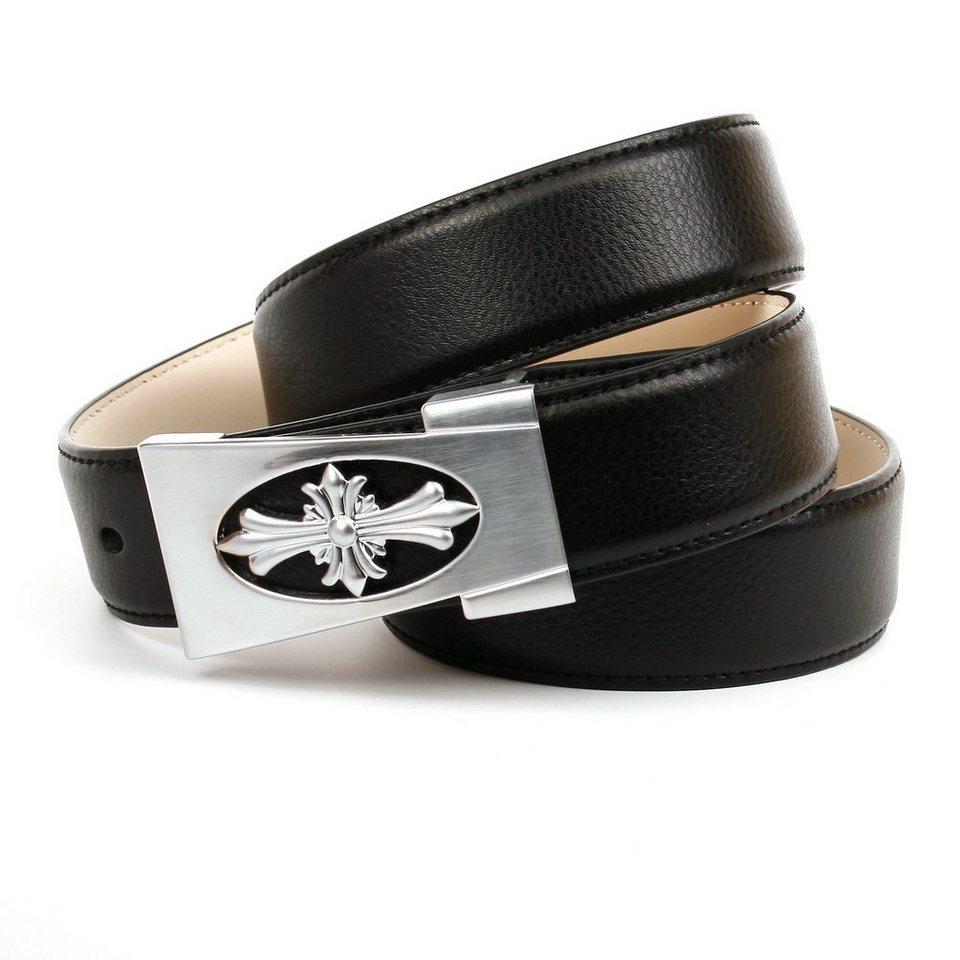 Anthoni Crown Klassischer Ledergürtel in Schwarz