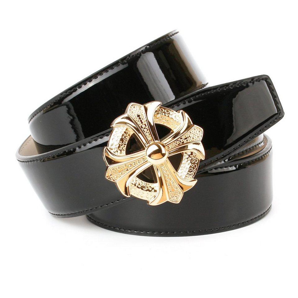 Anthoni Crown Breiter Lackledergürtel mit runder Koppelschließe in Schwarz