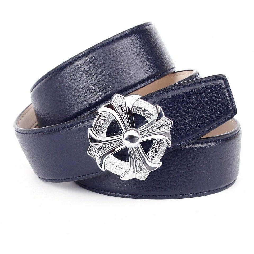 Anthoni Crown Ledergürtel für Jeans in Dunkelblau