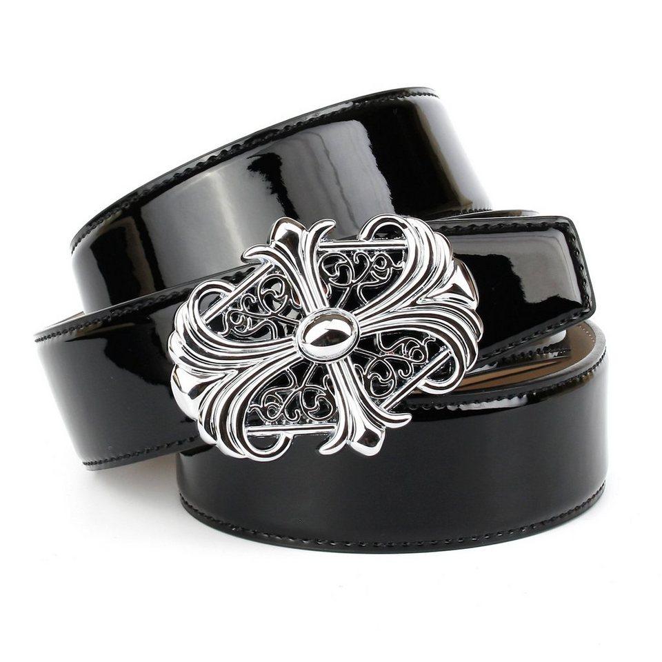 Anthoni Crown Lackledergürtel für Jeans in Schwarz