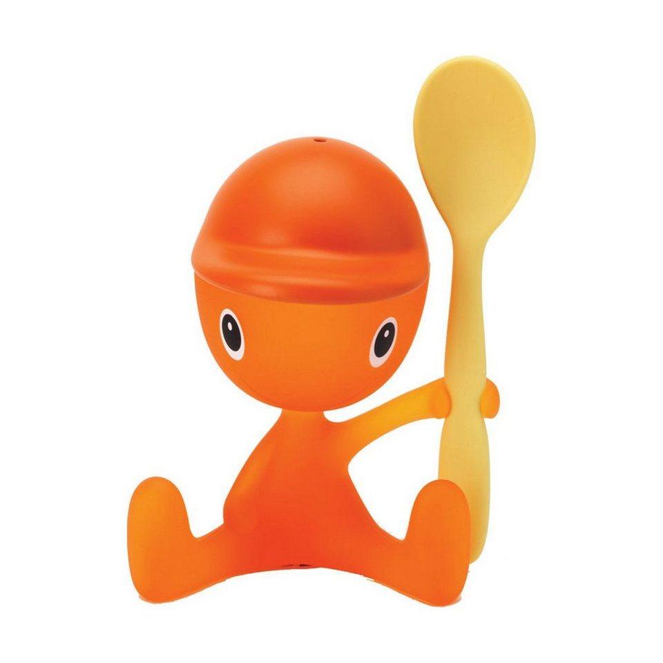 Alessi Alessi Eierbecher Cico mit Salzstreuer und Löffel, sweet orange in sweet orange