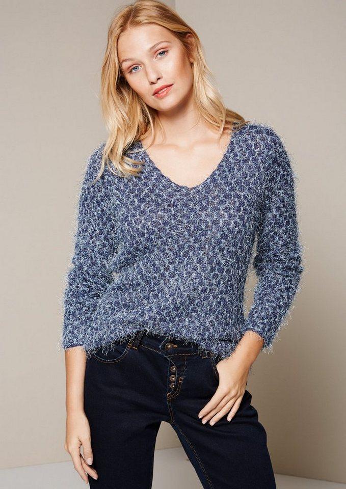 COMMA Schöner Herbstpullover mit glitzernden Langgarnen in marine boucle knit