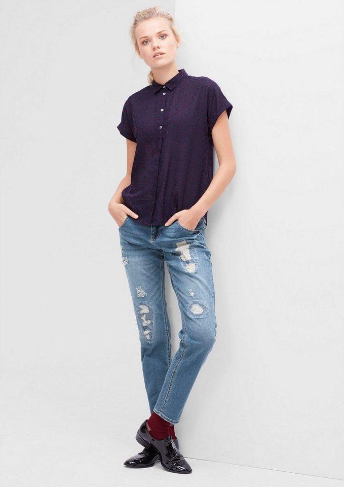 s.Oliver RED LABEL Boyfriend: Destroyed-Jeans in blue denim stretch