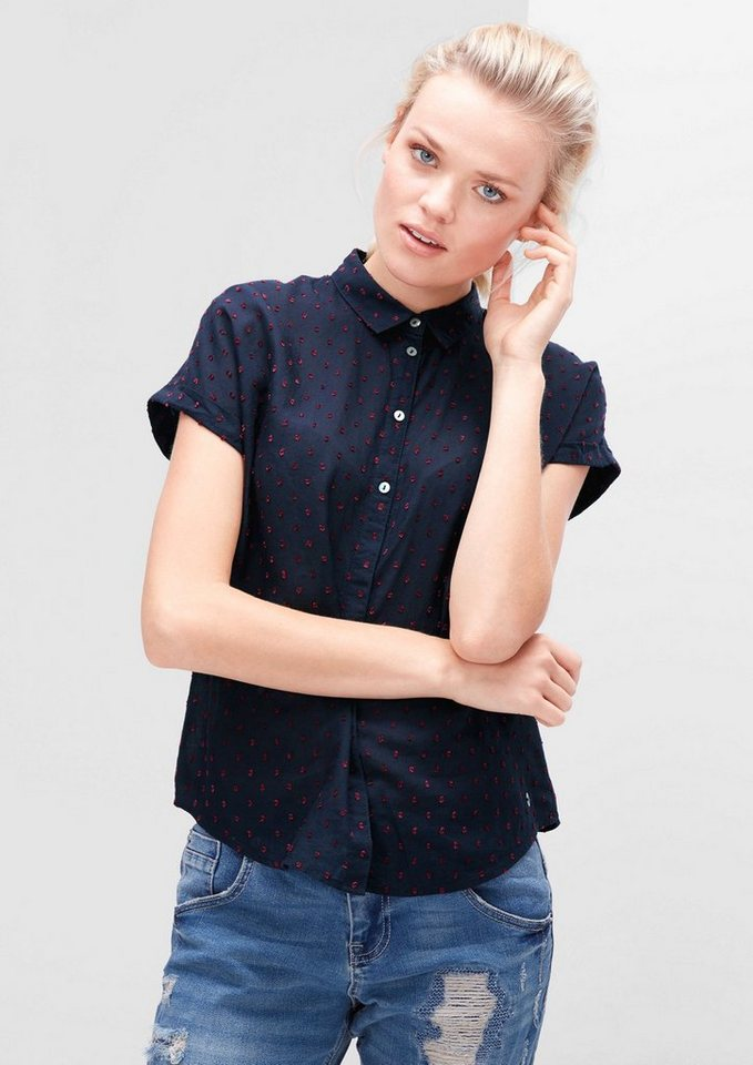 s.Oliver RED LABEL Bluse mit tonigem Muster in blue ink dobby