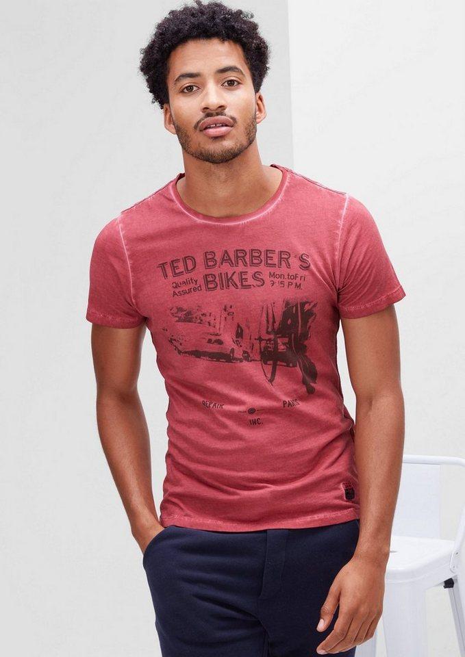 s.Oliver RED LABEL Printshirt mit Garment Dye in merlot