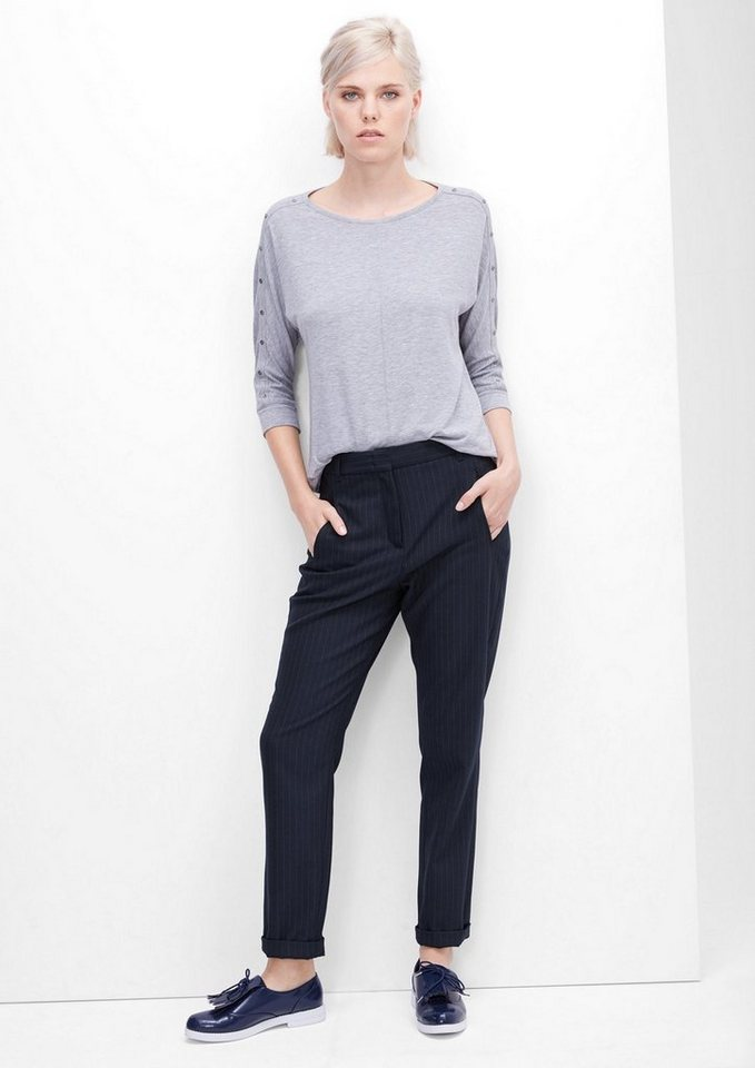 s.Oliver RED LABEL Smart Chino: Nadelstreifenhose in navy