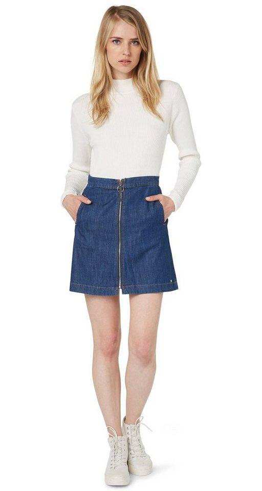 TOM TAILOR DENIM Rock »zipped denim skirt« in mid stone wash denim