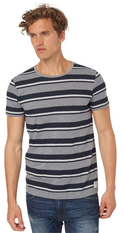TOM TAILOR DENIM T-Shirt »lässiges Streifen-T-Shirt« in heather grey melange