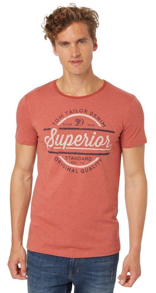 TOM TAILOR DENIM T-Shirt »T-Shirt mit Used-Print« in burned red slate