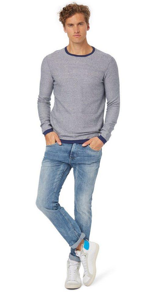 TOM TAILOR DENIM Jeans »Aedan slim blue vintage denim« in heavy bleached blue