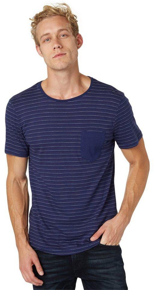 TOM TAILOR DENIM T-Shirt »T-Shirt mit gestrichelten Streifen« in cosmos blue