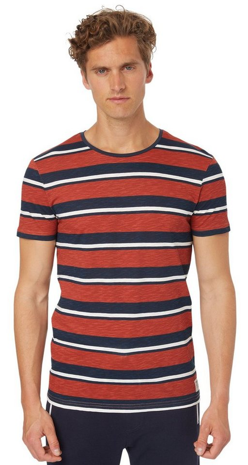 TOM TAILOR DENIM T-Shirt »lässiges Streifen-T-Shirt« in burned red slate