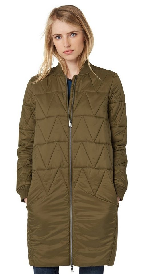 TOM TAILOR DENIM Jacke »gesteppter Mantel im Bomber-Look« in golden olive green
