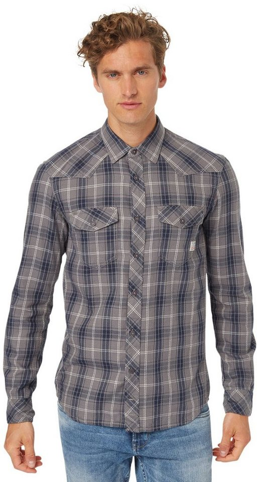 TOM TAILOR DENIM Hemd »Hemd mit Tartan-Muster« in somber grey
