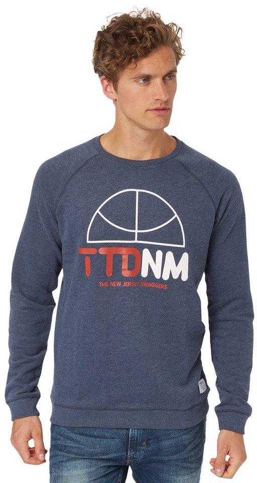 TOM TAILOR DENIM Sweatshirt »Sweat-Pullover mit Basketball-Print« in night sky blue