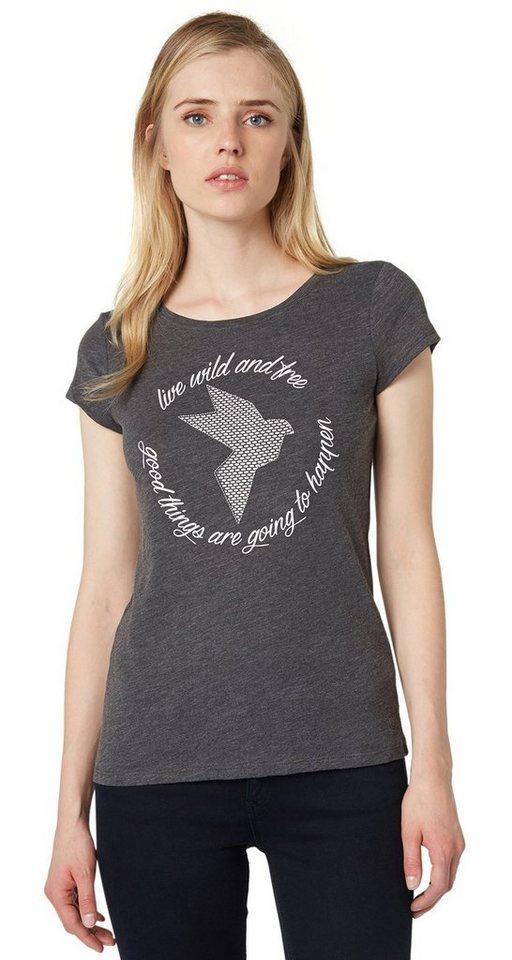 TOM TAILOR DENIM T-Shirt »T-Shirt mit Vogel-Print und Lyrik« in shale grey melange
