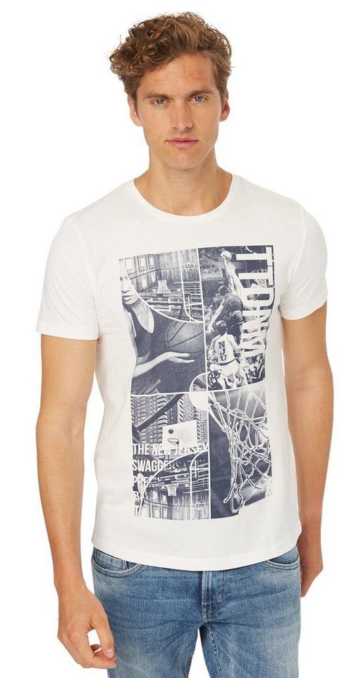 TOM TAILOR DENIM T-Shirt »T-Shirt mit Basketball-Print« in slightly creamy