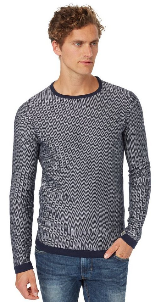 TOM TAILOR DENIM Pullover »Strickpullover mit Zickzack-Muster« in night sky blue