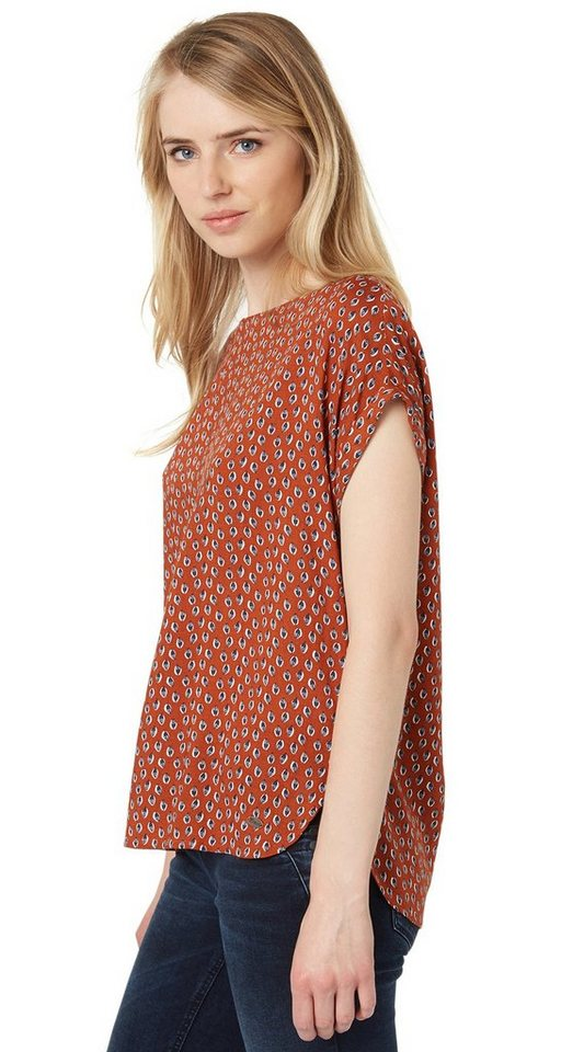 TOM TAILOR DENIM Bluse »Allover-Print Shirt mit Zipper« in burn umber orange