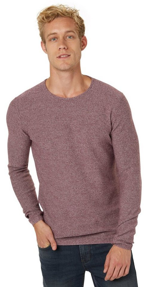 TOM TAILOR DENIM Pullover »Mouliné-Pullover« in deep burgundy red