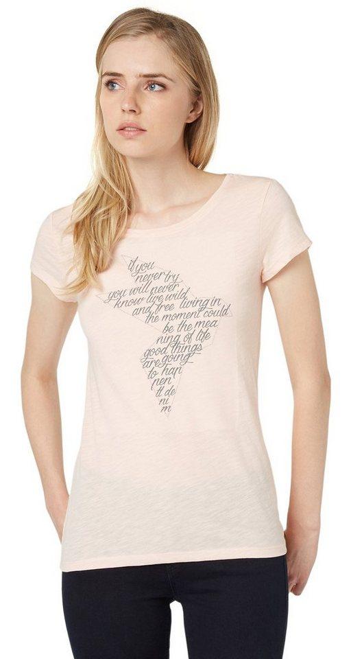 TOM TAILOR DENIM T-Shirt »T-Shirt mit Schrift in Vogelkontur« in light peach melange
