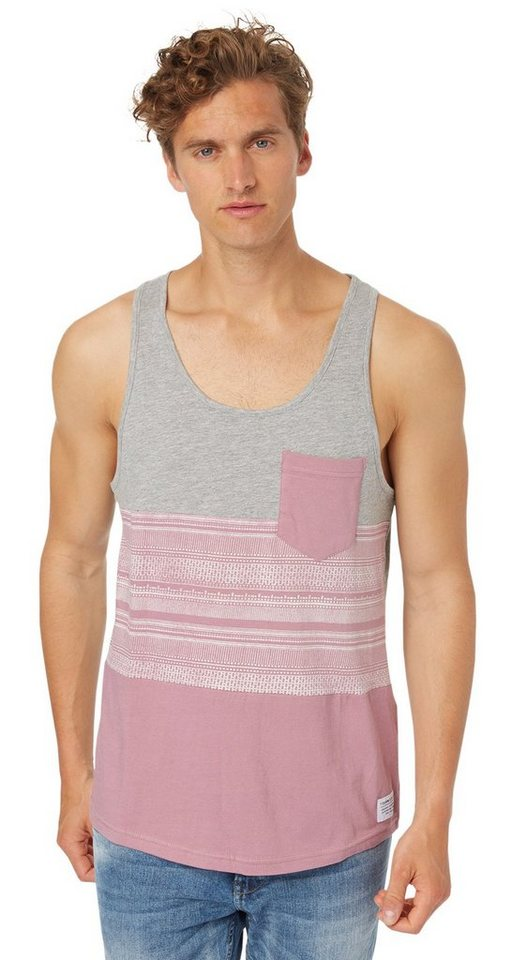 TOM TAILOR DENIM T-Shirt »lässiges Stoffmix-Tanktop« in dusty orchid mauve