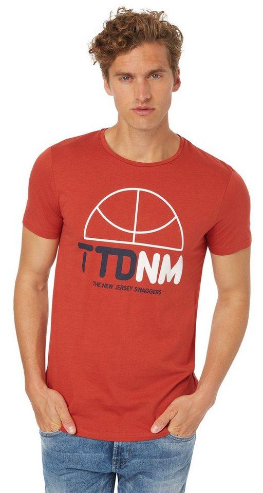 TOM TAILOR DENIM T-Shirt »T-Shirt mit Basketball-Logo« in burned red slate