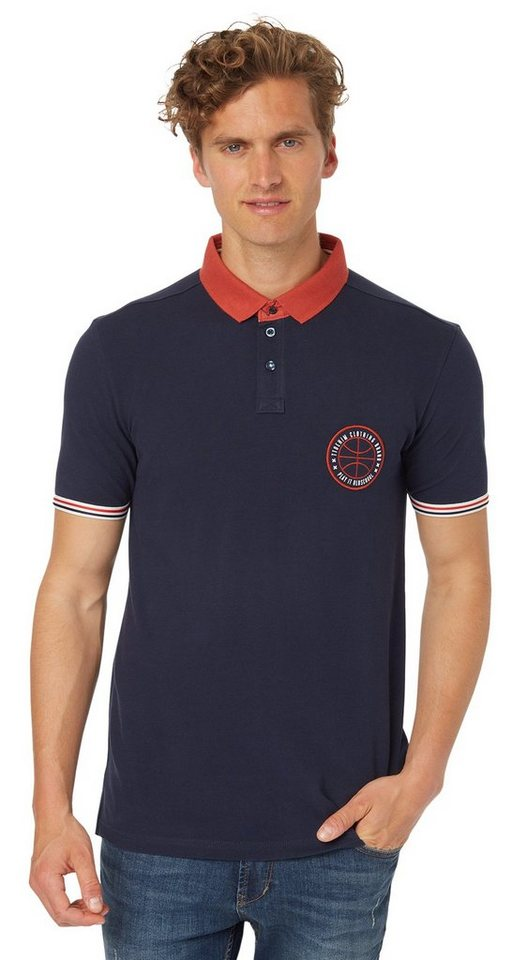 TOM TAILOR DENIM Poloshirt »sportives Polo-Shirt mit Badge« in night sky blue