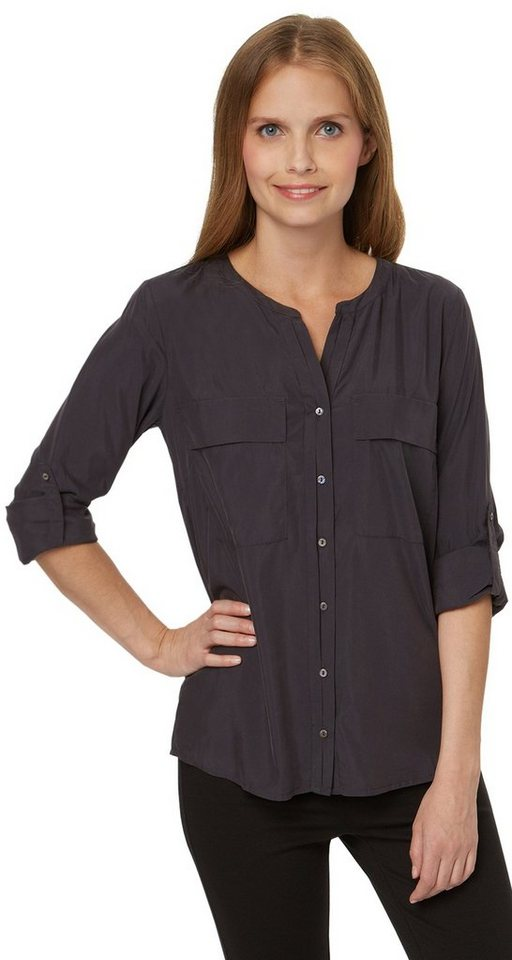TOM TAILOR Bluse »Satin-Bluse mit Brusttaschen« in Coal Grey