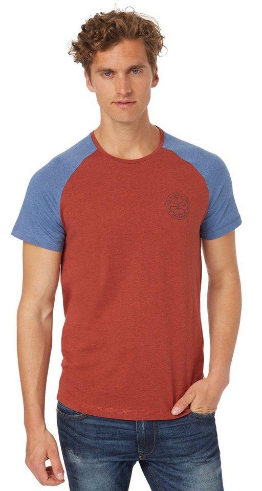 TOM TAILOR DENIM T-Shirt »T-Shirt im retro Highschool-Look« in burned red slate