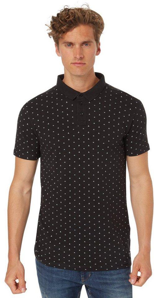TOM TAILOR DENIM Poloshirt »Piqué-Polo mit Minimal-Print« in black