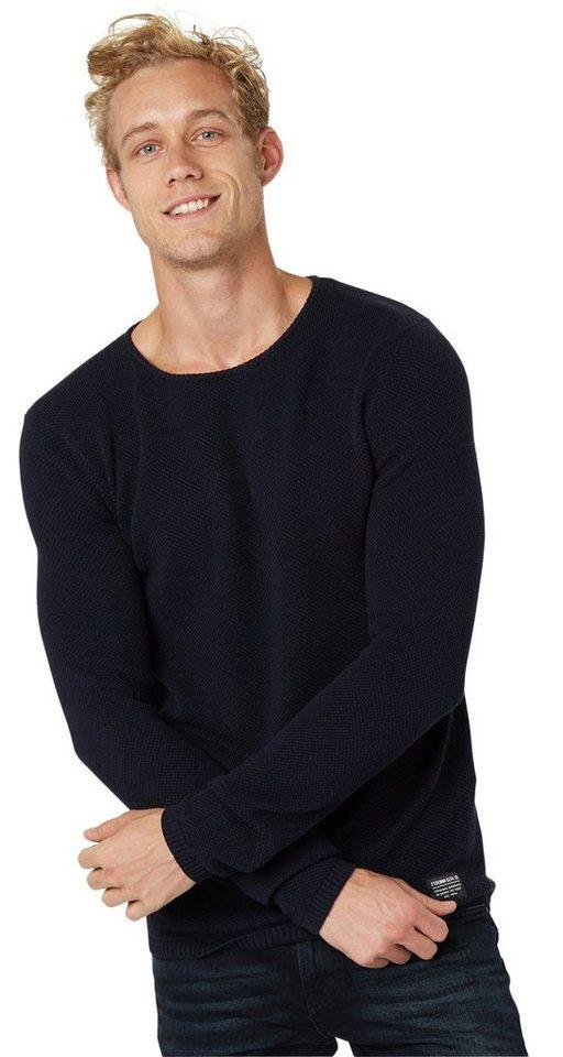 TOM TAILOR DENIM Pullover »strukturierter Pullover« in night sky blue